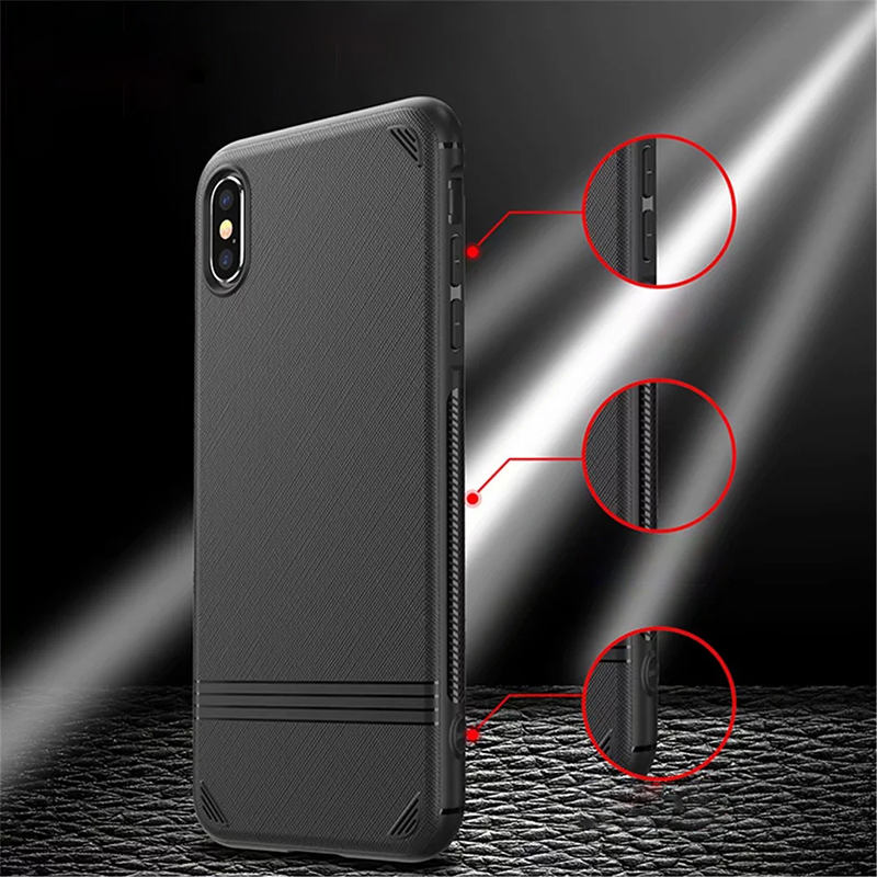 Slim Good Hand-holding Grainy TPU Shockproof Matte Soft Case Cover for iPhone X/XS - Black