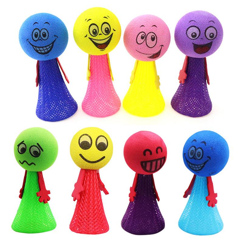 EVA 9cm Bouncing Villain Jumping Elf Kids Children Gift Doll Bounce Ball Toys for Random Color Pattern - L