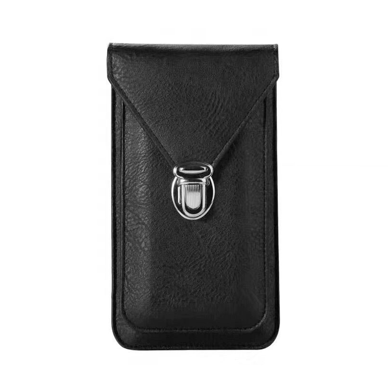 6 Inch Universal 360 Degree Full Protection Cell Phone Leather Case Phone Cover for iPhone Huawei Samsung Oneplus - Black