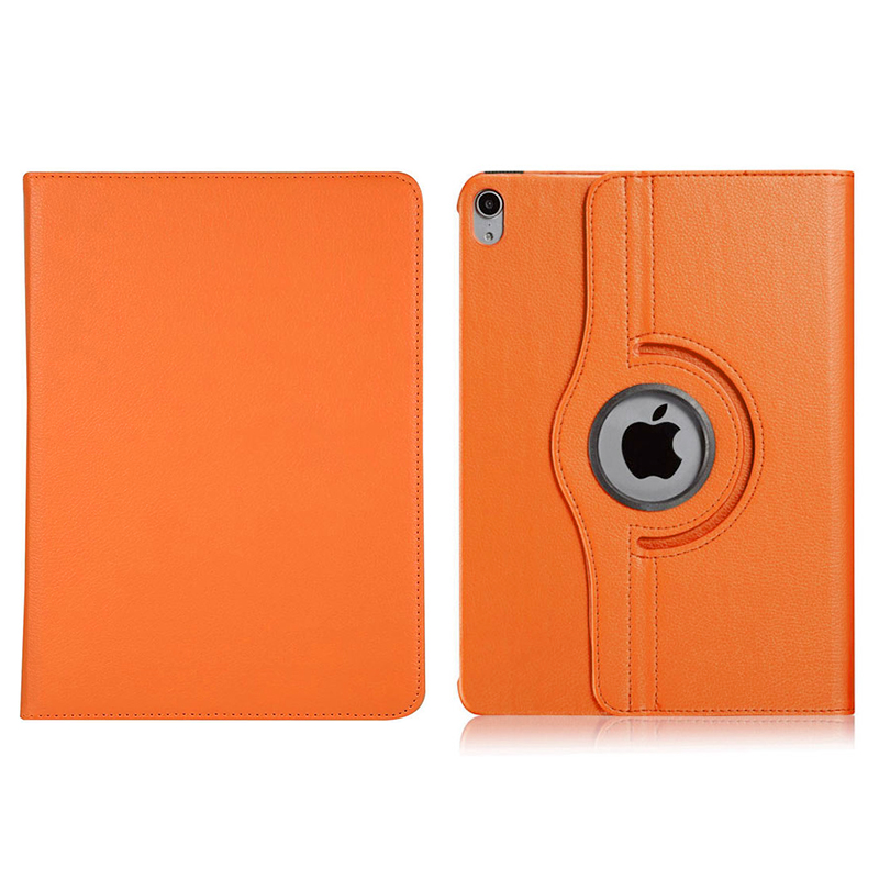 "360 Degree Rotating Smart Leather Stand Cover Case with Auto Sleep/Wake for Apple iPad Pro 12.9"" 2018 - Orange"