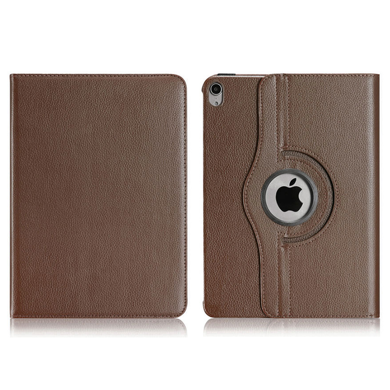 "360 Degree Rotating Smart Leather Stand Cover Case with Auto Sleep/Wake for Apple iPad Pro 12.9"" 2018 - Brown"