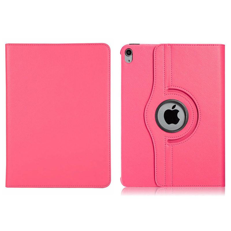 "360 Degree Rotating Smart Leather Stand Cover Case with Auto Sleep/Wake for Apple iPad Pro 12.9"" 2018 - Hot Pink"
