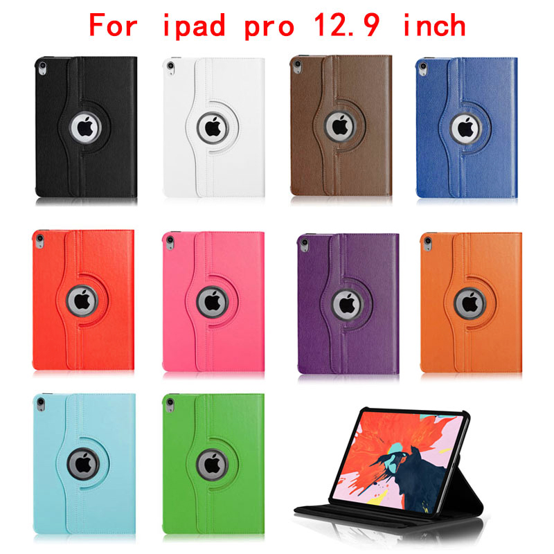 "360 Degree Rotating Smart Leather Stand Cover Case with Auto Sleep/Wake for Apple iPad Pro 12.9"" 2018 - Dark Blue"
