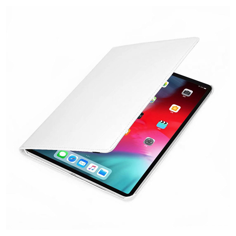 "360 Degree Rotating Smart Leather Stand Cover Case with Auto Sleep/Wake for Apple iPad Pro 12.9"" 2018 - White"