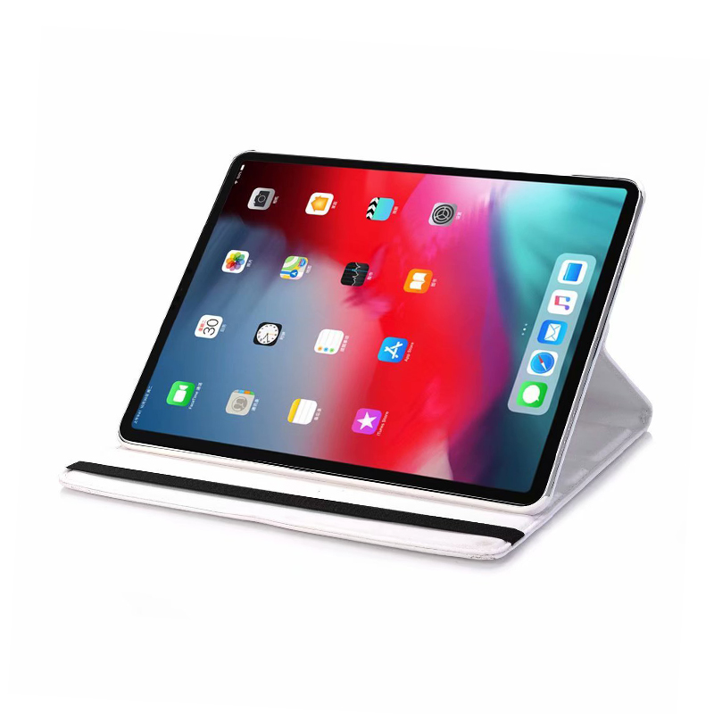"360 Degree Rotating Smart PU Stand Cover Case with Auto Sleep/Wake Function for Apple iPad Pro 11"" 2018 - White"