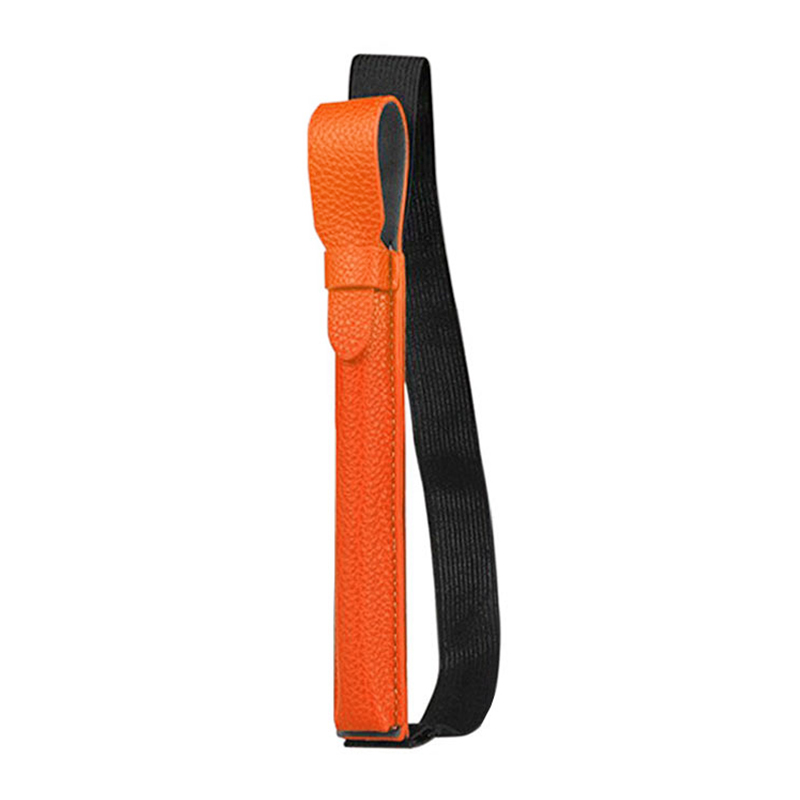 Stylus Elastic Strap PU Case Pouch Cover Sleeve Holder Holster with USB Adapter Pocket for Apple Pencil - Orange