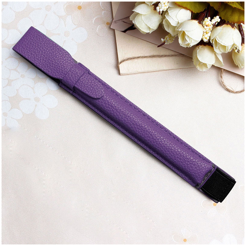 Stylus Elastic Strap PU Case Pouch Cover Sleeve Holder Holster with USB Adapter Pocket for Apple Pencil - Purple