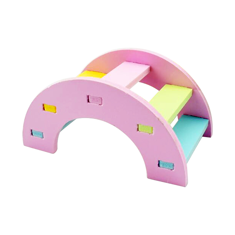 Hamster Wooden Play Toys Rainbow Bridge Guinea Pig Physical Small Pet Training Toys Size S - Pink