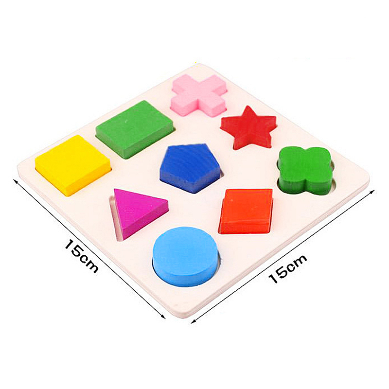 Baby Kids Educational Puzzle Early Learning Wooden Match Geometry Colorful Wooden 3D Model Toys - Elementary