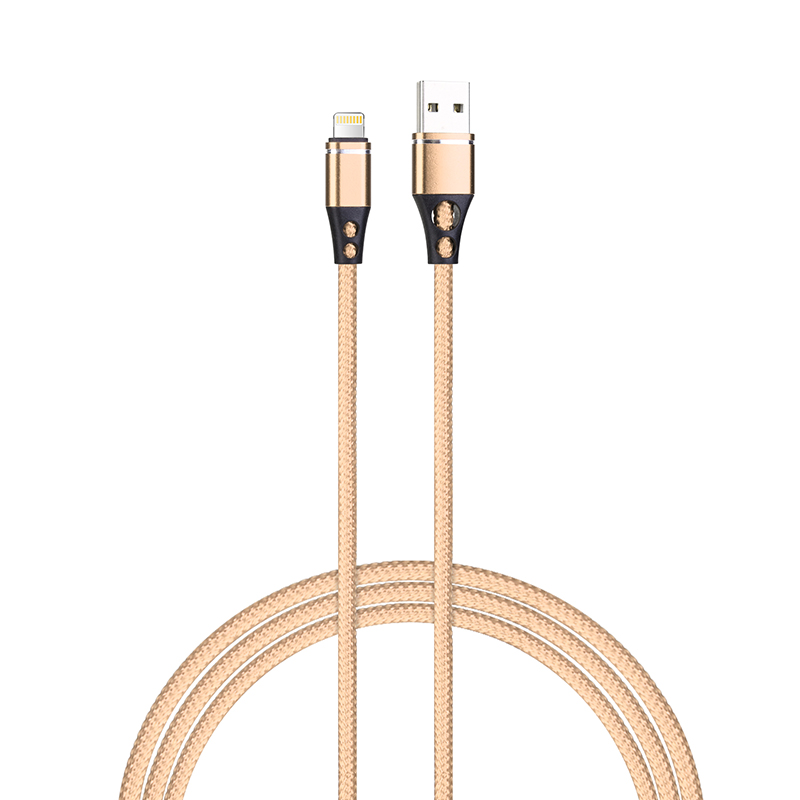 Data Sync Lightning Charging Cable Nylon Braided Cable for iPhone - Gold