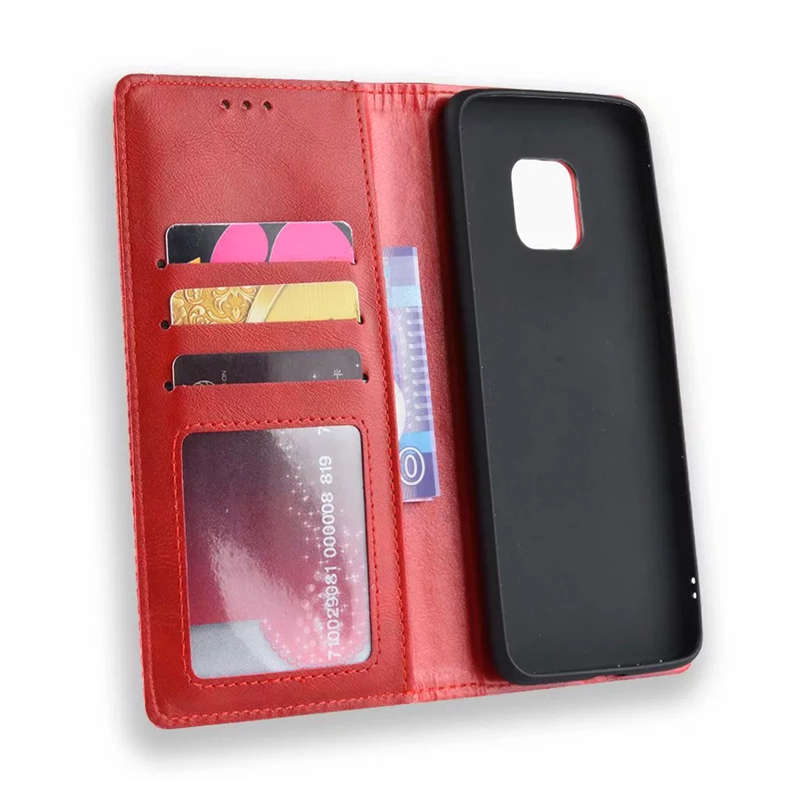 Vintage Business Magnetic Wallet Flip Stand Phone Cover with Card Slot for Huawei Mate 20 Pro - Red