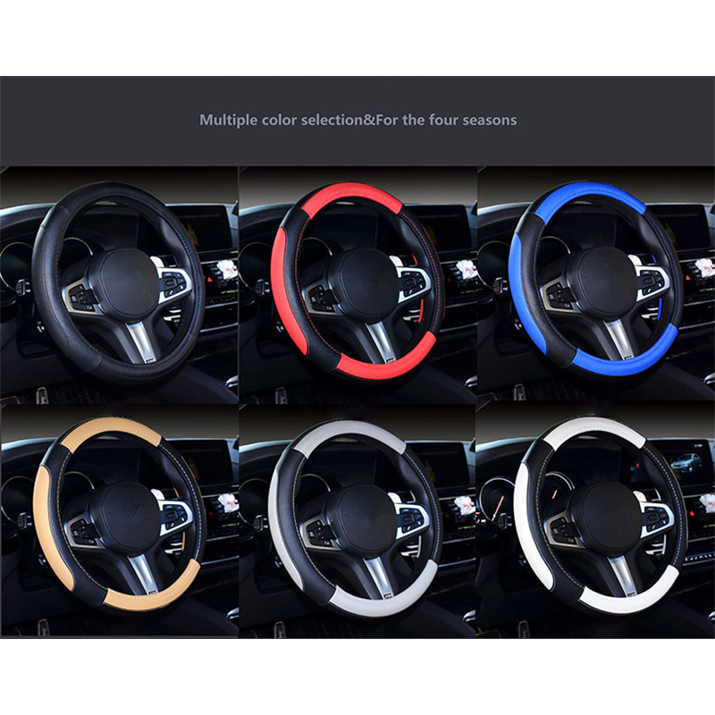 Universal Dia.38cm Car Steering Wheel Leather Cover Case - Black&Beige