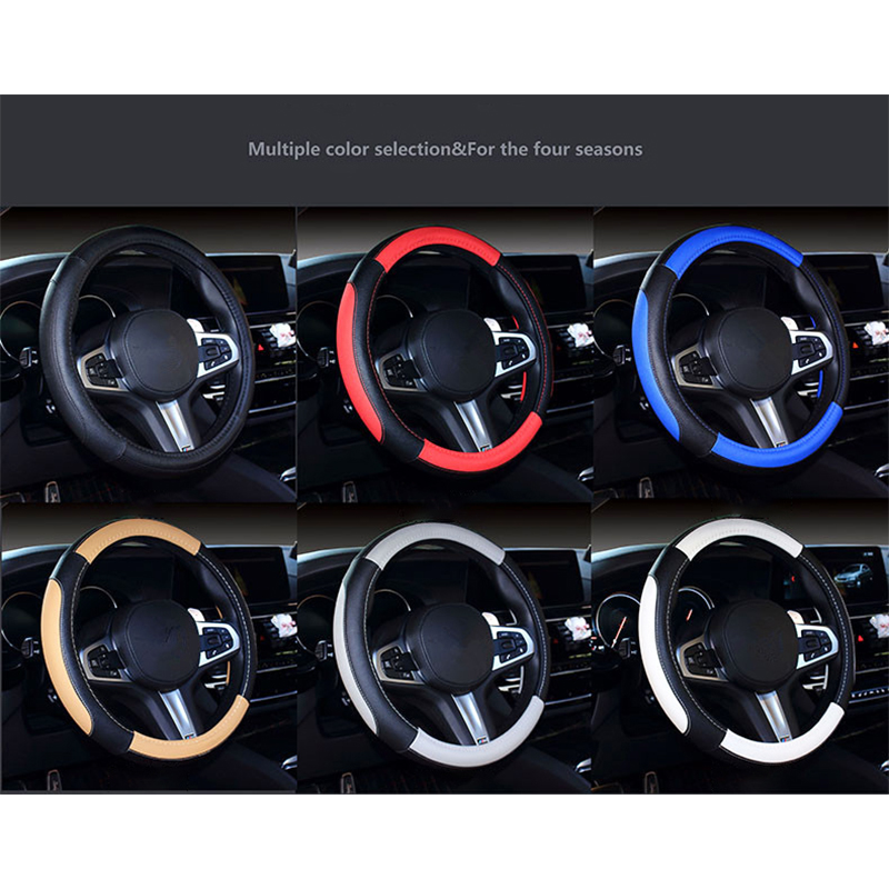 Universal Dia.38cm Car Steering Wheel Leather Cover Case - Black&Red