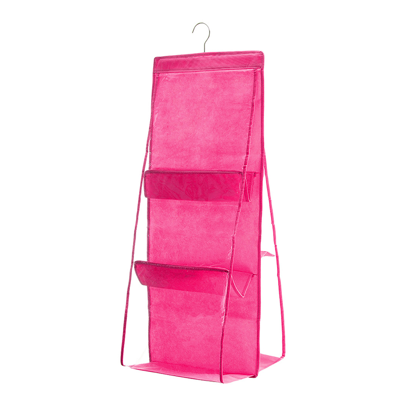 6 Pockets Handbag Hanging Organizer for Wardrobe Closet Transparent Non-woven Storage Bag - Hot Pink