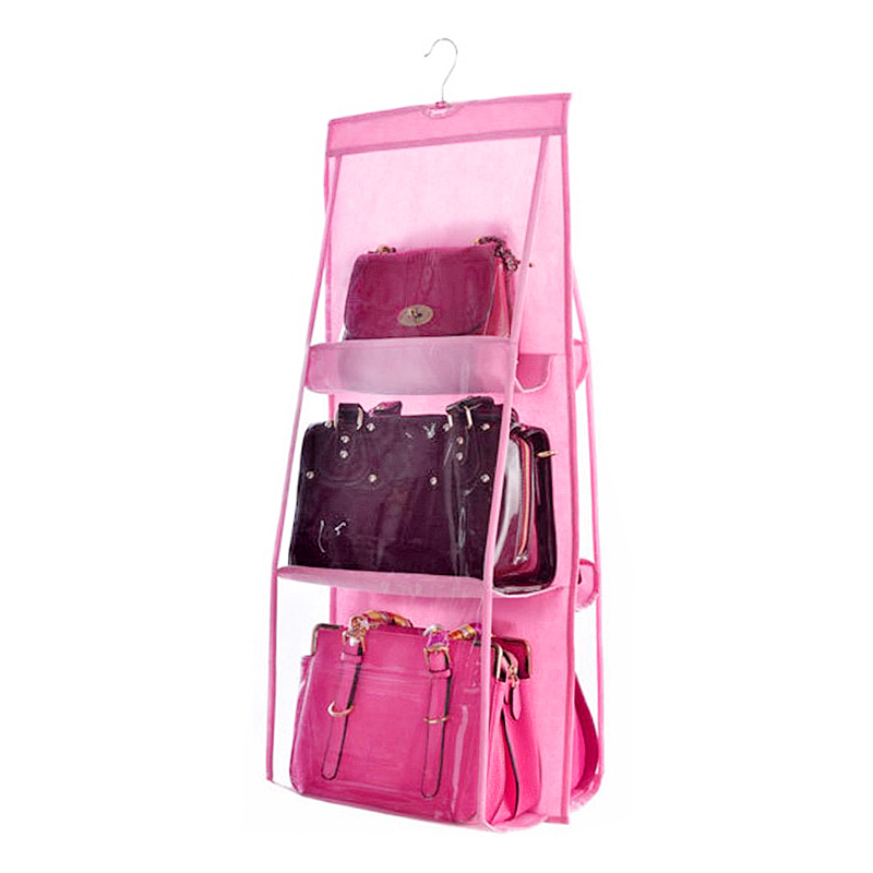6 Pockets Handbag Hanging Organizer for Wardrobe Closet Transparent Non-woven Storage Bag - Pink