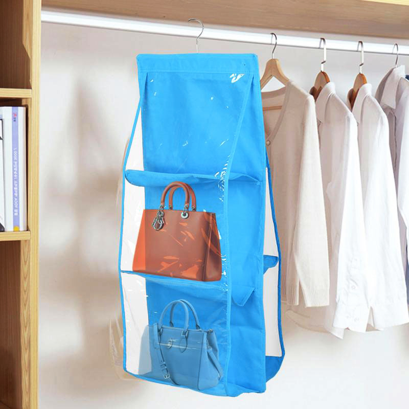 6 Pockets Handbag Hanging Organizer for Wardrobe Closet Transparent Non-woven Storage Bag - Light Blue