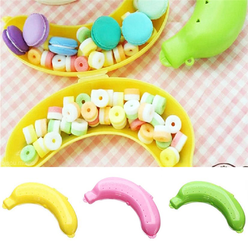 Cute Plastic Outdoor Portable Travel Fruit Banana Protector Case Carrier Storage Box Container - Green