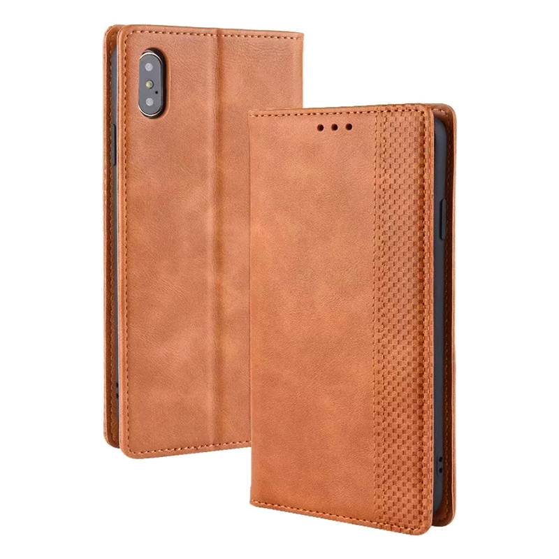 Retro Magnetic Card Slot Wallet Flip Leather Case for iPhone XS MAX - Brown