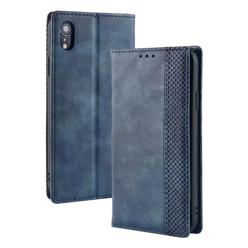 Retro Magnetic Card Slot Wallet Flip Leather Case for iPhone XR - Blue