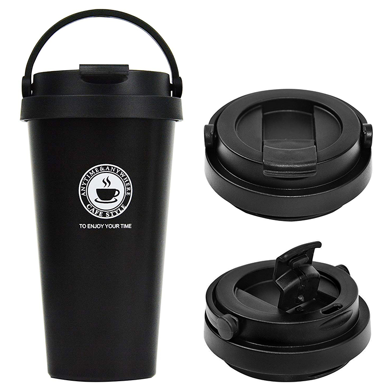 500ml Fashionable Travel Portable Stainless Steel Coffee Cup Vacuum Insulation Water Bottle - Black