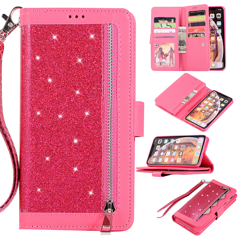 Wholesale Glitter Wallet Flip Leather Stand Case with Card