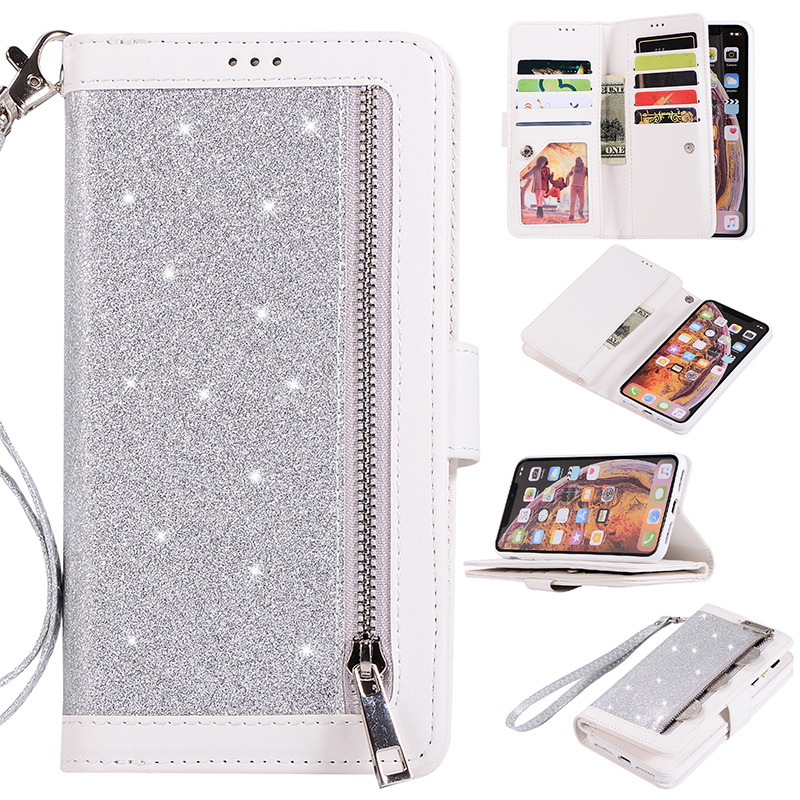 Glitter Shiny Zipper Leather Phone Case Protective Cover with Lanyard for iPhone XR - Silver