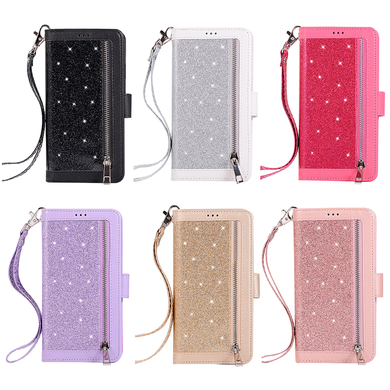 Glitter Shiny Zipper Leather Phone Case Protective Cover with Lanyard for iPhone XR - Rose Gold