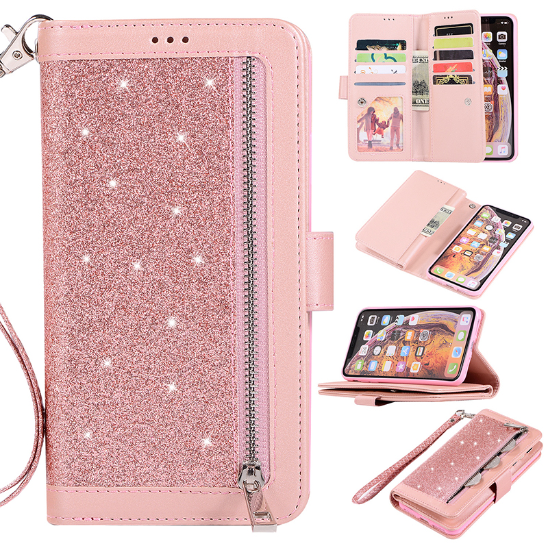 Wholesale Glitter Wallet Flip Leather Phone Case with