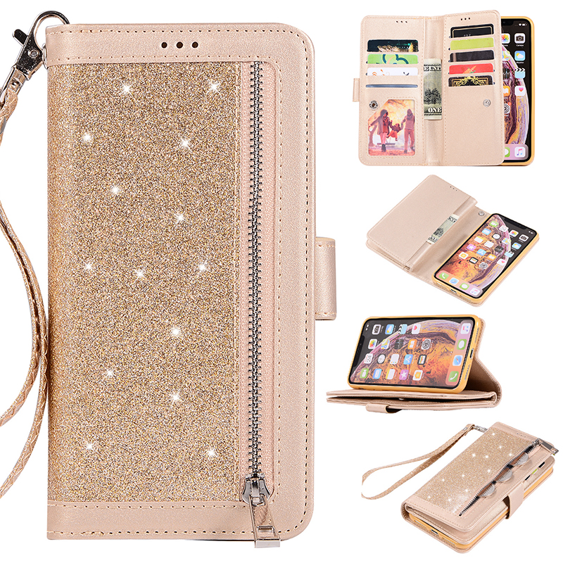 Glitter Wallet Flip Leather Phone Case with Kickstand Zipper Phone Cover for iPhone X/XS - Gold