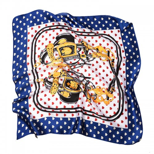 70*70cm Ladies Women Faux Silk Satin Scarf Neck Thin Square Mini Patterned Scarf - #334