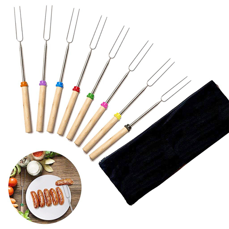 8Pcs Extendable Stainless Steel Roasting Sticks BBQ Forks with Wooden Handle