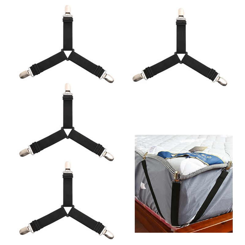 4pcs Triangle Bed Sheet Mattress Holder Fastener Grippers Clips Suspender Straps Bands - Black