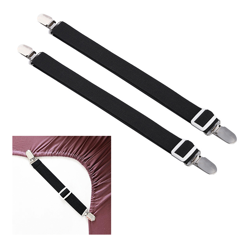 2pcs Bed Sheet Mattress Holder Fastener Grippers Clips Suspender Straps Bands - Black