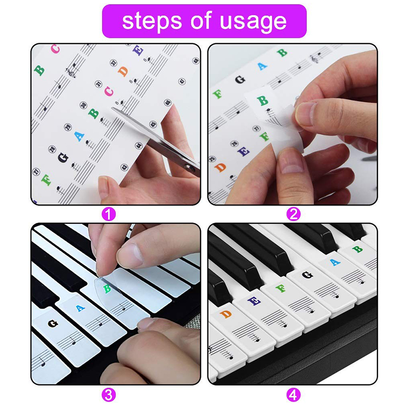 54/61/88 Transparent Piano Keyboard PVC Sticker Stave Electronic Keyboard Sound Name Note Sticker - Color