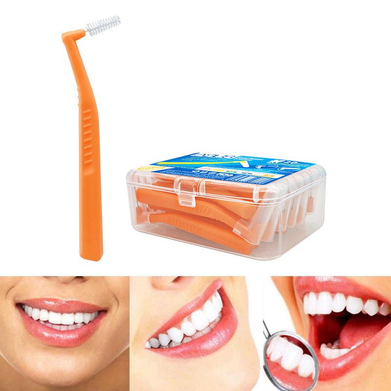 20pcs L Shape Push-Pull Interdental Brush Oral Care Teeth Gap Dental Orthodontic Brush 1.2-1.5mm - Orange