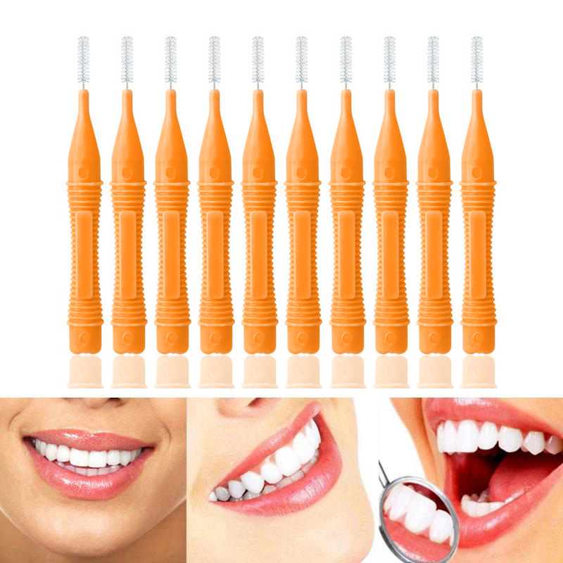 10pcs Interdental Brush Oral Care Teeth Gap Dental Orthodontic Brush 0.6mm - Orange