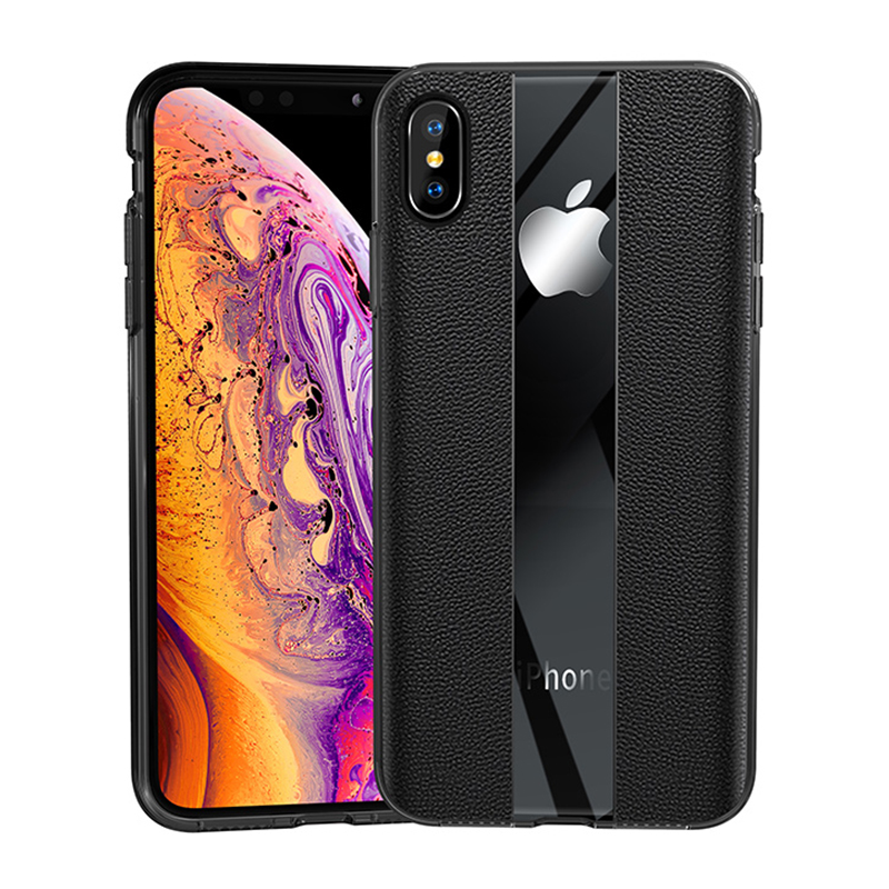 Mirror and Matte PU Grainy Skin Texture Cellphone Case for iPhone X/XS - Black