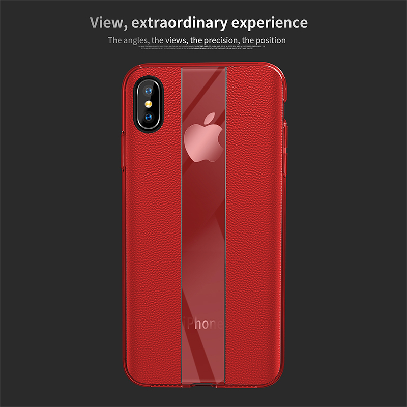 Mirror and Matte PU Grainy Skin Texture Cellphone Case for iPhone X/XS - Red