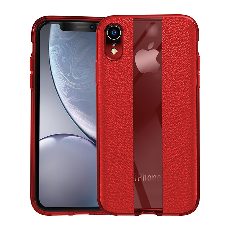 Mirror Business PU Grainy Skin Texture Phone Cover for iPhone XR - Red