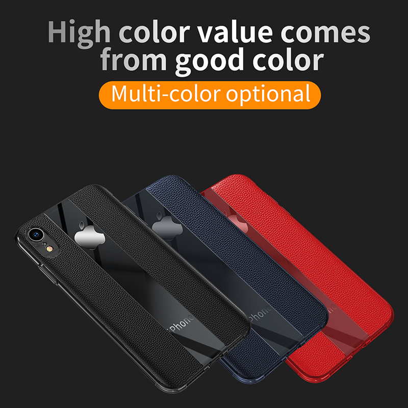 Mirror Business PU Grainy Skin Texture Phone Cover for iPhone XR - Blue