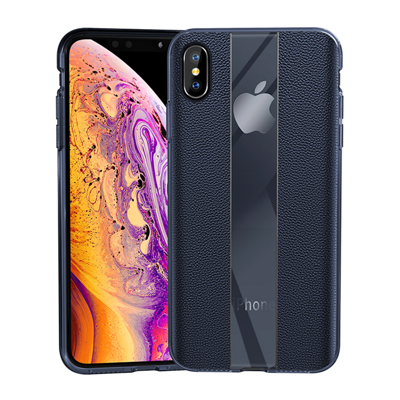 Luxury Business Leather Grainy Skin Texture Phone Case for iPhone XS MAX - Blue