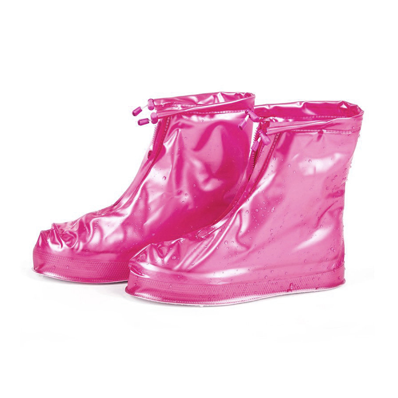 Reusable Waterproof Rain Shoes Cover Protector Water Shoes for Children Adult Pink - XL