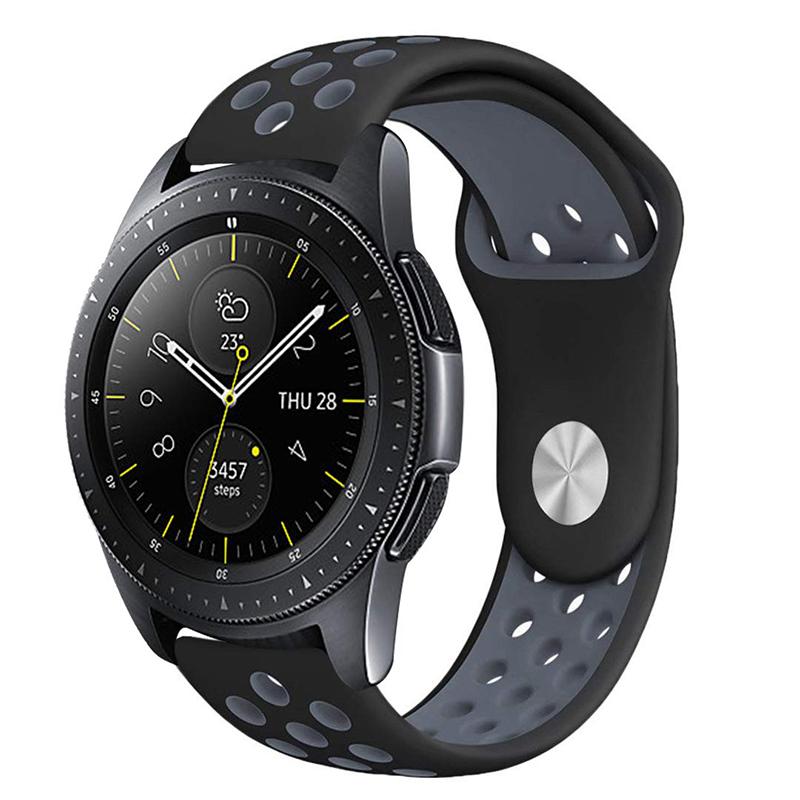 Silicone Sport Replacement Wrist Strap Bracelet Watchband Wristband for Samsung Galaxy Watch 42mm - Black & Grey