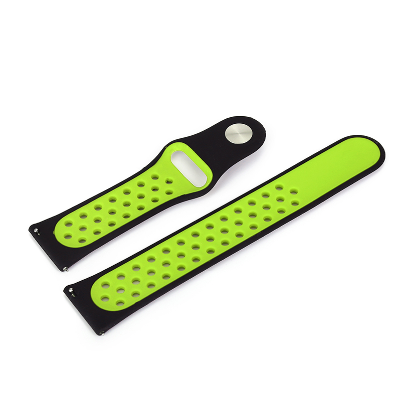 Silicone Sport Replacement Wrist Strap Bracelet Watchband Wristband for Samsung Galaxy Watch 42mm - Black & Yellow