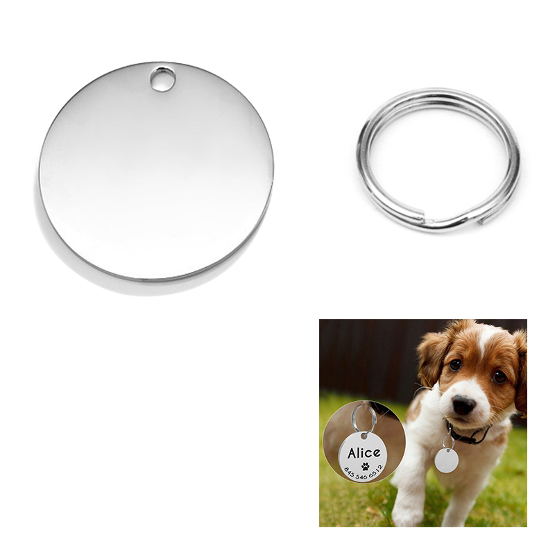 Stainless Steel Blank Tag Dog Cat Pet ID Tags with Key Ring Round Shape - Size S