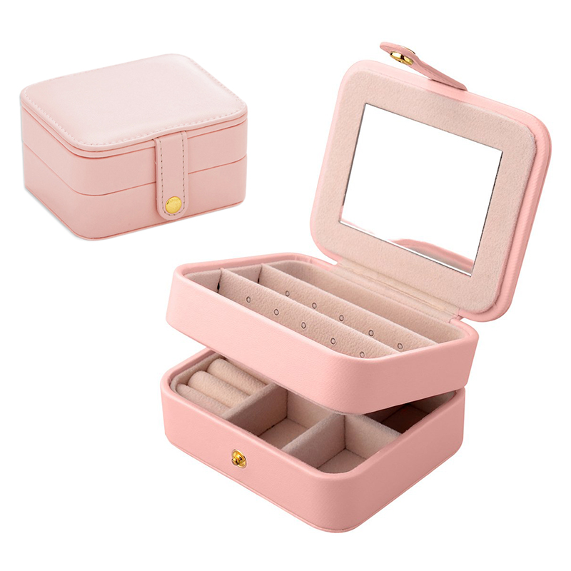 Home Travel Mini Portable 2 Layers Jewelry Storage Boxes Leather Organizer with Mirror for Gifts - Pink