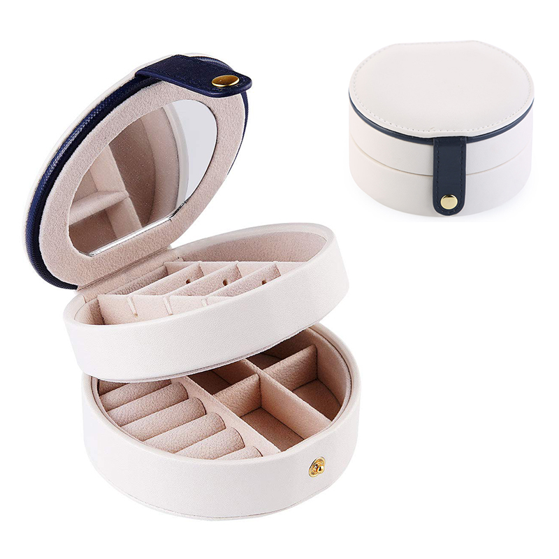 Round Jewelry Boxes Portable PU Leather Case 2 Layers Storage Organizer for Travel Home - White