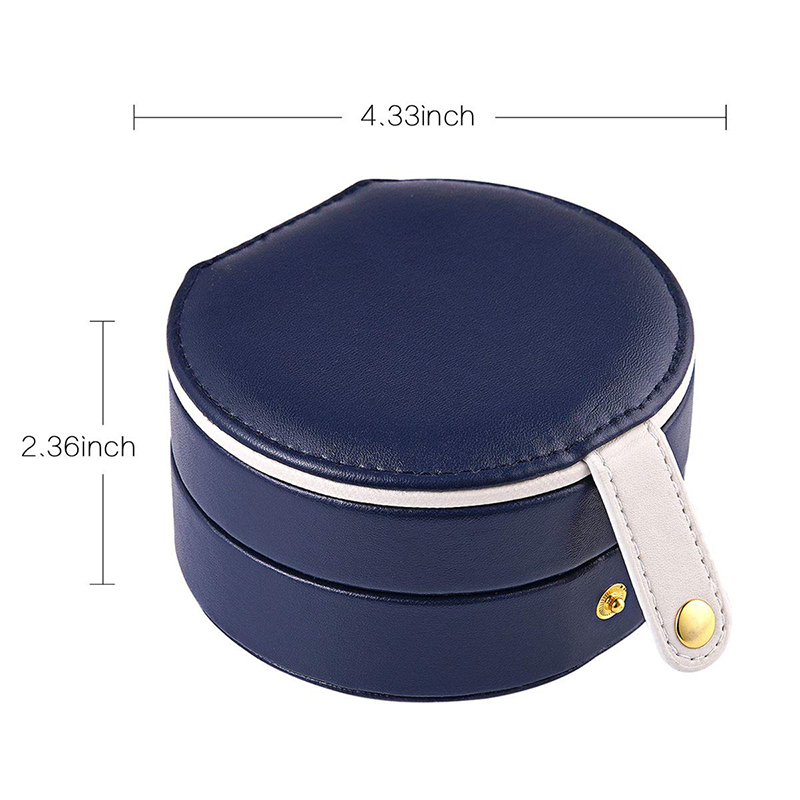 Round Jewelry Boxes Portable PU Leather Case 2 Layers Storage Organizer for Travel Home - Dark Blue