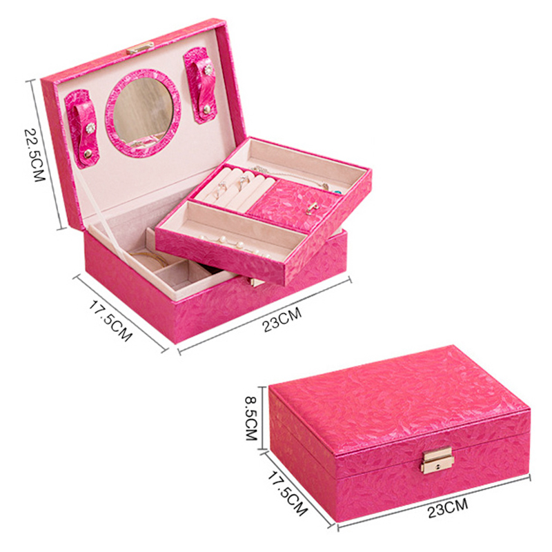 Portable Leaves Pattern PU Leather Case 2 Layers Jewelry Organizer Storage Boxes with Lock - Hot Pink