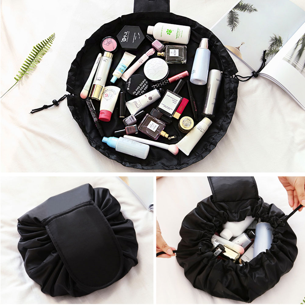 Portable Makeup Drawstring Bags Storage Travel Pouch Cosmetic Bag - Black